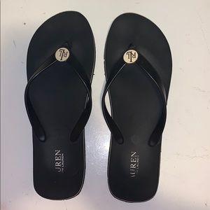 Size 9/10 Worn Ralph Lauren Black Flip Flops